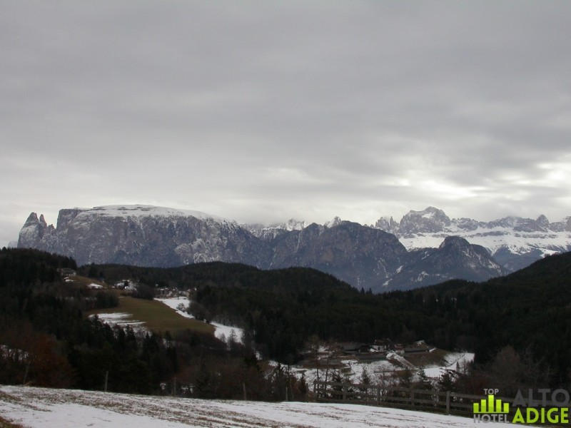 View from Renon of Sciliar and Rosengarten