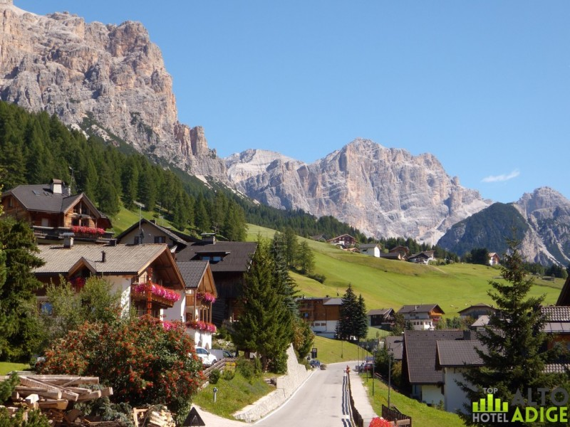 View of San Cassiano summer at the foot of Cima Cuntirines