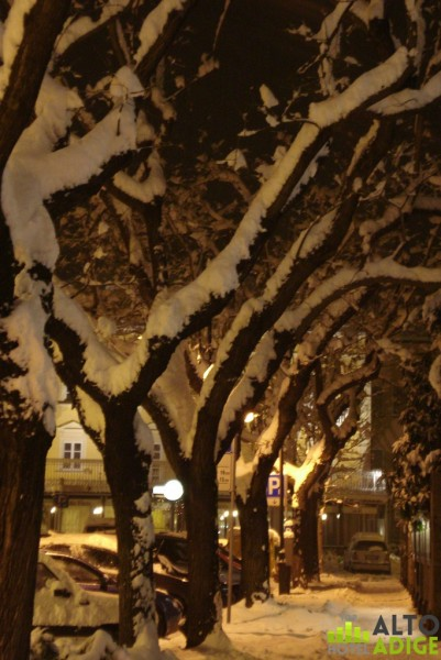 Piazza Gries in Bolzano under the snow