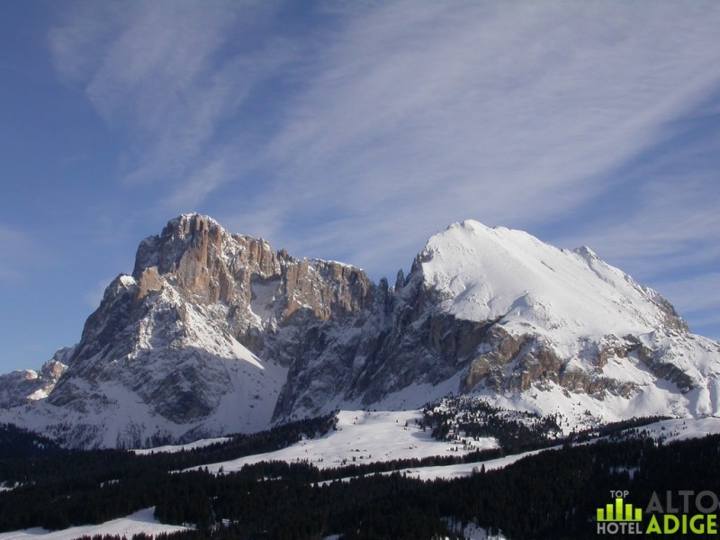 Sassolungo and Sassopiatto in winter from Seiser Alm