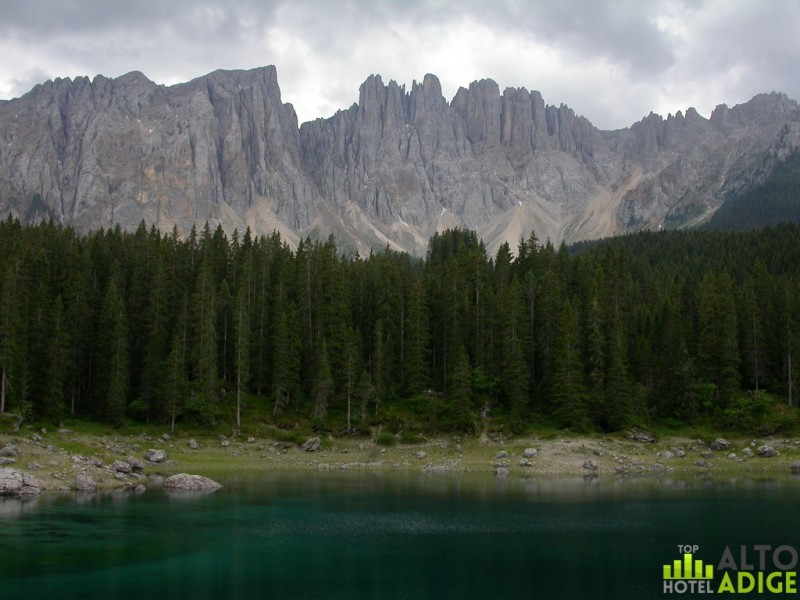 Latemar from Carezza lake in the summer