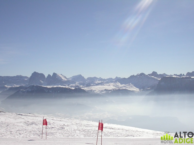 Beautiful views of the ski slopes of Alpe di Siusi by Rittner Horn