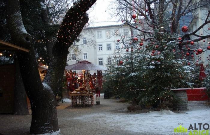 Galleria Fotografica Alto Adige Splendido scorcio del bosco incantato di Palais Campofranco ai mercatini di Natale di Bolzano da Piazza Walther