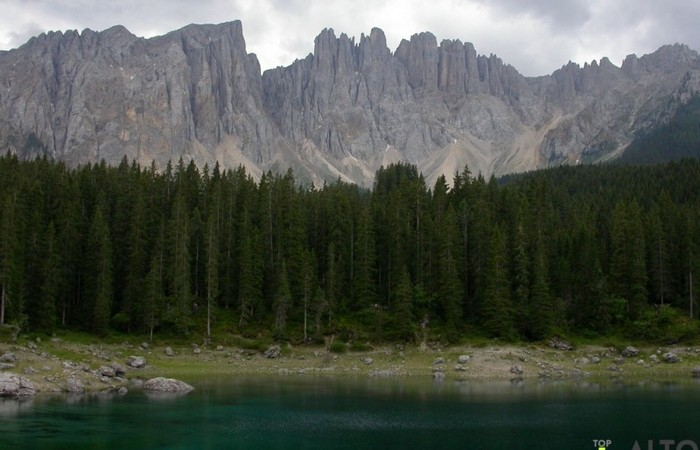 Photo Gallery South Tyrol Latemar from Carezza lake in the summer