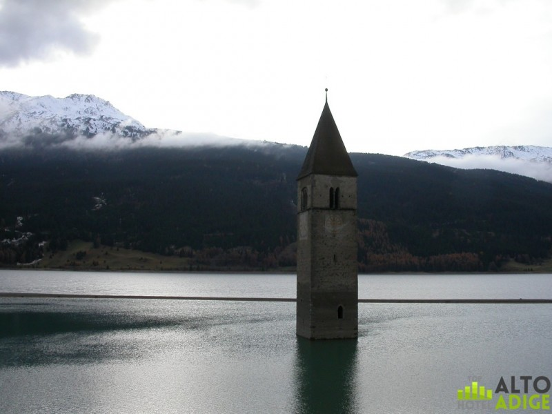 The bell tower that rises from the waters of Lake Reschen in Val Venosta